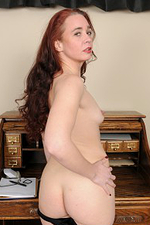Redheaded Secretary Sable Yanks Her Undies Aside to Show Pinkish