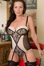 Beautiful Brunette Marlyn from Allover30 Slips from Her Elegant Dress