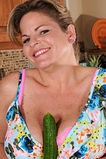 37 Year Old Marie Michaels Rams a Cucumber into Her Older Pussy
