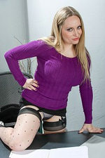 35 Year Old Secretary Aiden Starr Unwraps Down at Work in the Office