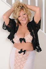 Charming 52 Year Old Karen Summer in Stilettos and Black Nylons
