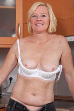 Hairy Pussied Wifey Sabine Displaying off Her 49 Year Old Assets