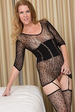Elegant Rookie Lacy F Taunts with Those Long Hot Gams in a Fishnet Garment