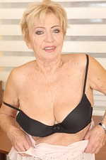 Slutty Gran Maya Lambert Takes off Her Bra and Plays with Her Boobs and Privates