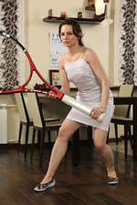 Sexy Candice Plays with Her Giant Tennis Racket