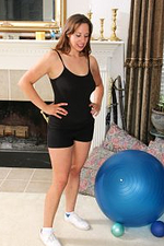 Cassandra Johnson Works out on the Yoga Ball