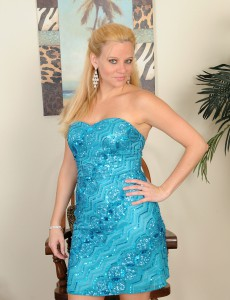 Elegant Golden-haired Lily Sway Unwraps and Stretches Her Thirty Year Old Gams