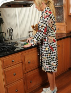 Nice-looking Golden-haired Milf Christina Takes off and Bares All in the Kitchen
