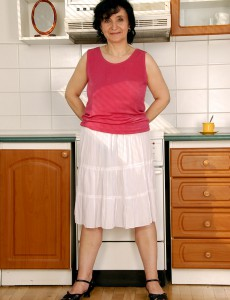 52 Year Old Sandra D Shows off Her Full Bush and Pointer Sisters in Her Kitchen