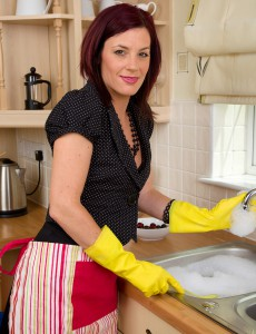 Alluring Redheaded  Mom Sofia Busy in the Kitchen with Her Cherries