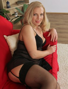 47 Year Old Britney from  Onlyover30 Widens Her Stocking Covered Gams