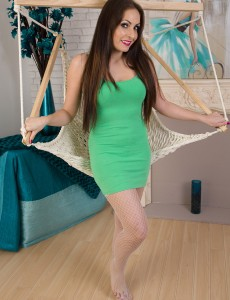 Draping from a Hammock 31 Year Old Sopia Delane Massages Her Cookie