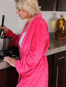53 Year Old Payton Hall Opens Up Her Older Pussy in the Kitchen