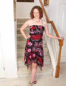 35 Year Old Redheaded Roxanne Clemments Posing  Nude on Stairs