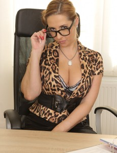 Sexy Secretary Daria Glower Takes Dictation then Flashes Her Big Jugs