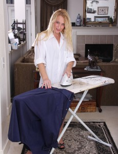 Super Horny Milf Jackie Does the Ironing and then Shows off Her Nude Body