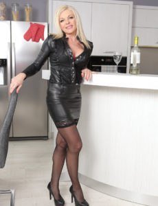 Golden-haired Milf Carolina Carla Likes a Glass of Wine Before Sliding out of Her Constricted Leather