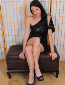 Passionate Raven Haired Maggie K Has a Hawt Short Black Dress and Even Hotter Blue High Heel Boots on
