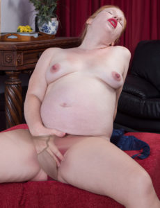 Very hot pregnant redhead unshaved has